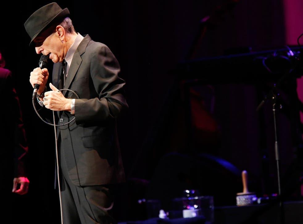 Leonard Cohen performing in New York