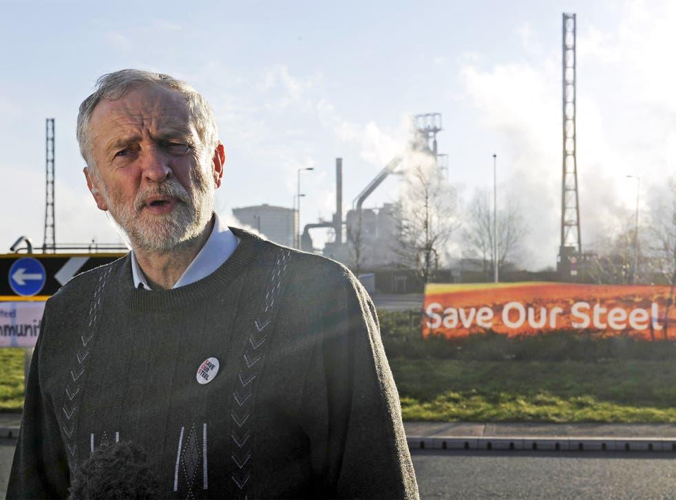 Jeremy Corbyn speaks to the media outside the Tata steelworks in Port Talbot