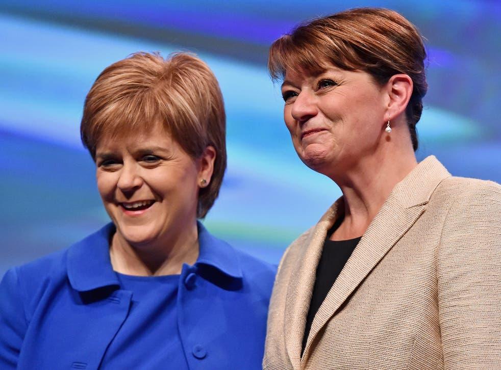 Scottish First Minister Nicola Sturgeon with Plaid Cymru's Leanne Wood