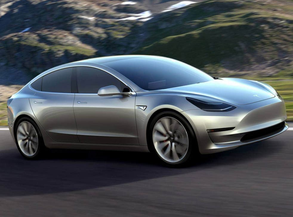 The lack of a grille gives the Model 3 an eye-catching blank 'face'
