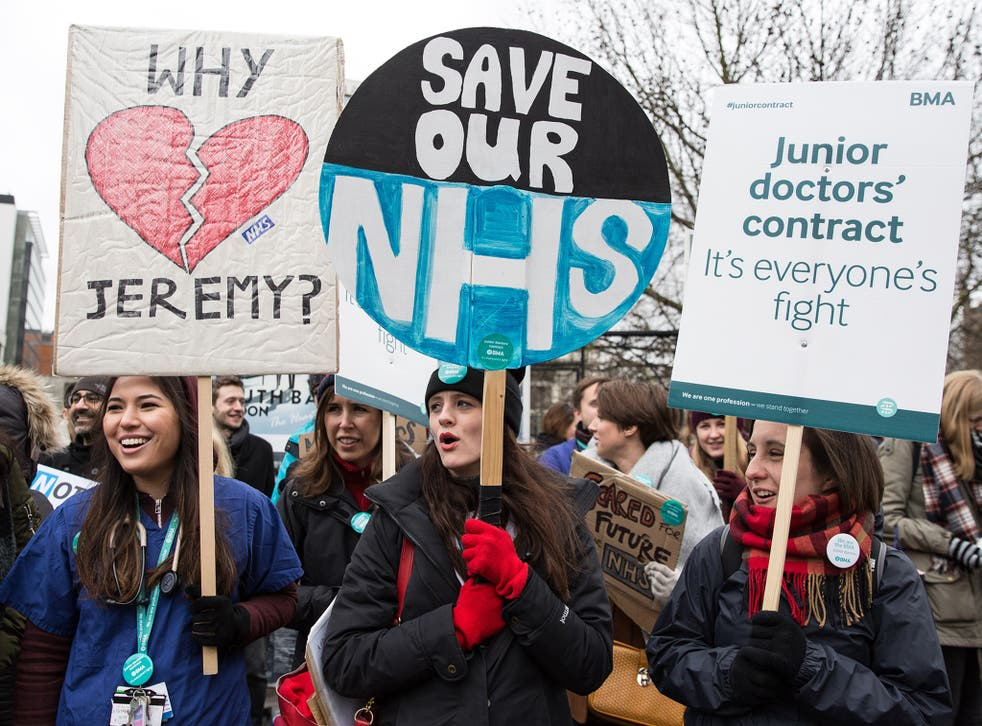 Junior Doctors protest outside the St Thomas' Hospital in London