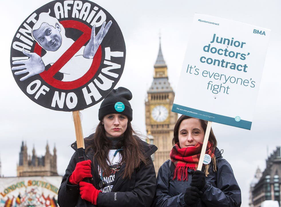 Juniors doctors at a picket line outside St Thomas Hospital in London