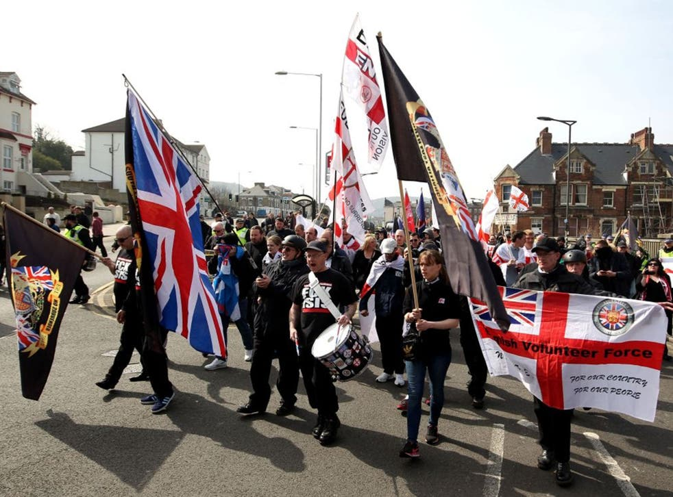 Far-right protesters march though Dover