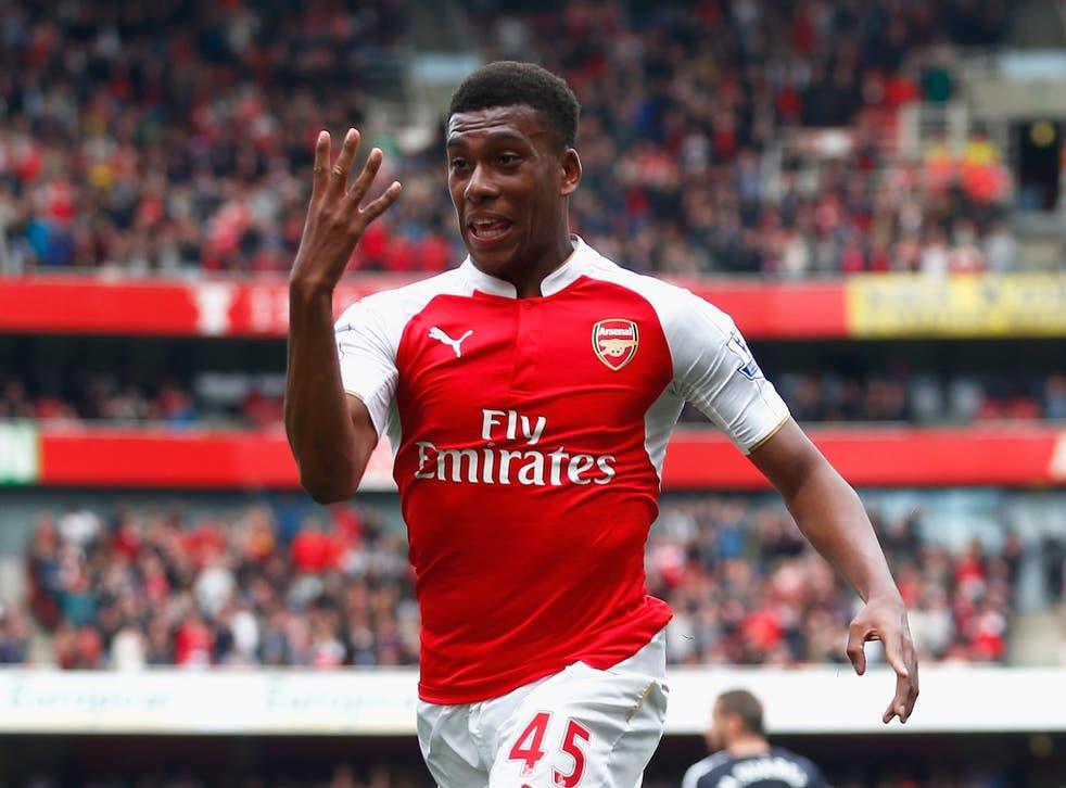 Alex Iwobi celebrates his goal for Arsenal against Watford