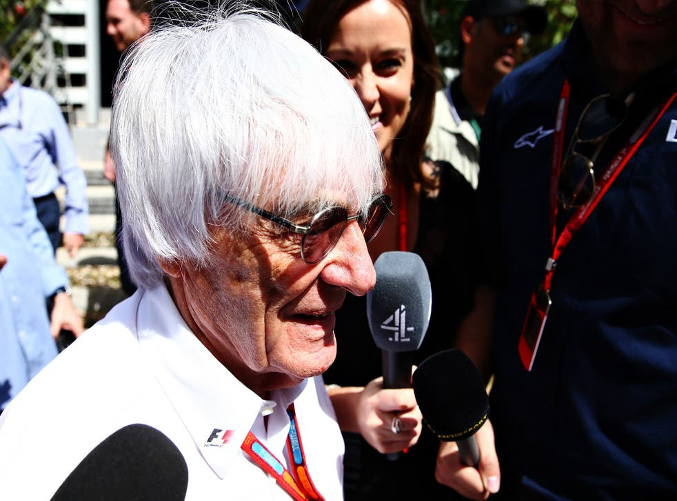 Bernie Ecclestone speaks to the media after a meeting with the FIA and F1 team bosses