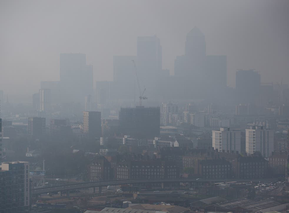 Air pollution hangs in the air lowering visibility in London, on April 2