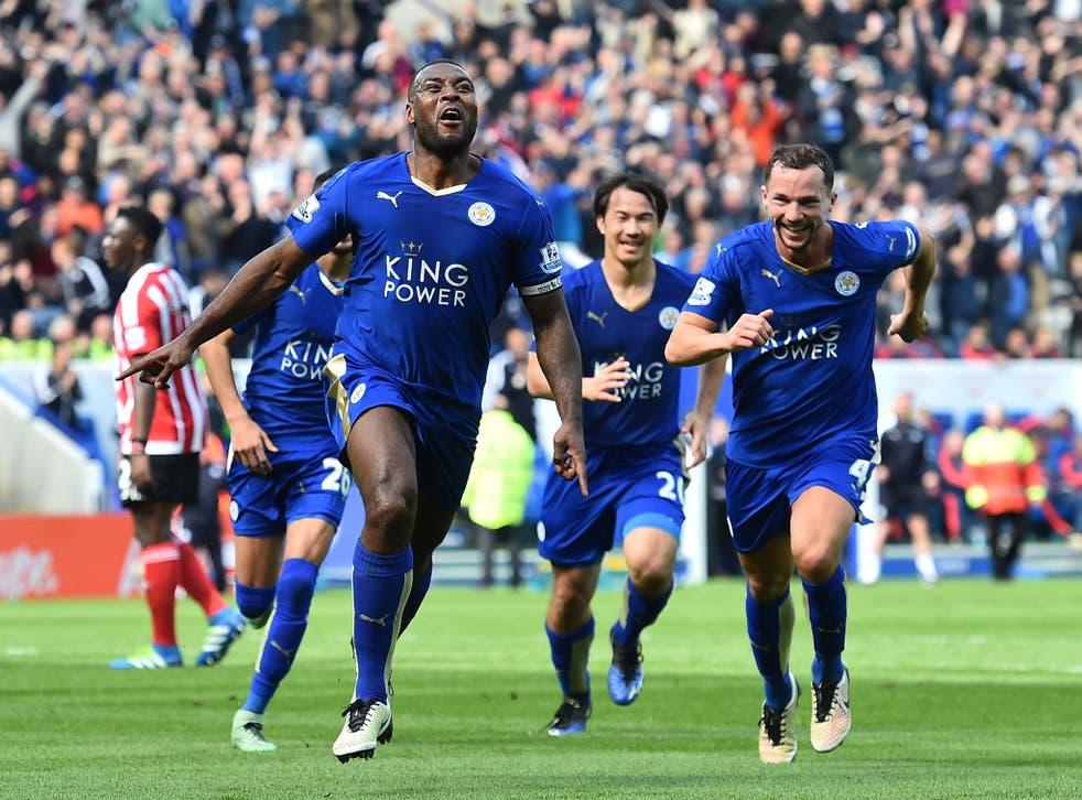 Wes Morgan celebrates his winning goal against Southampton