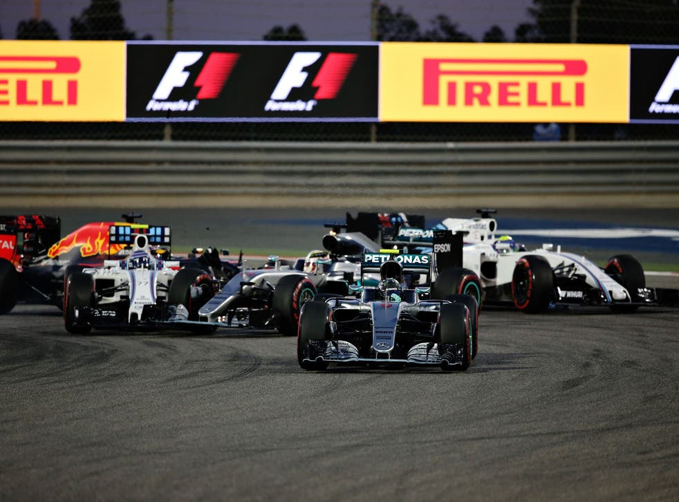 Lewis Hamilton is hit by Valtteri Bottas at the start of the Bahrain Grand Prix