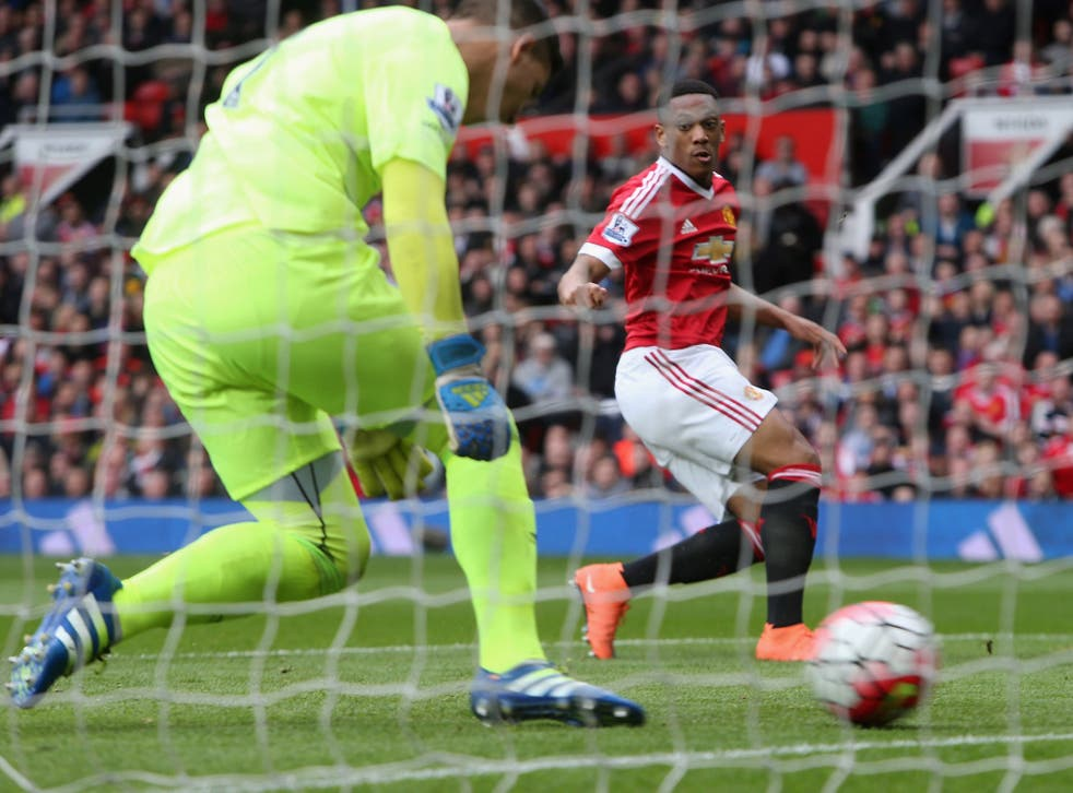 Anthony Martial scores against Everton