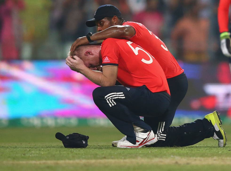 Ben Stokes is comforted after the World T20 final