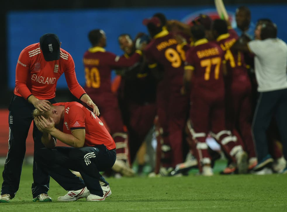 Ben Stokes is consoled by captain Eoin Morgan