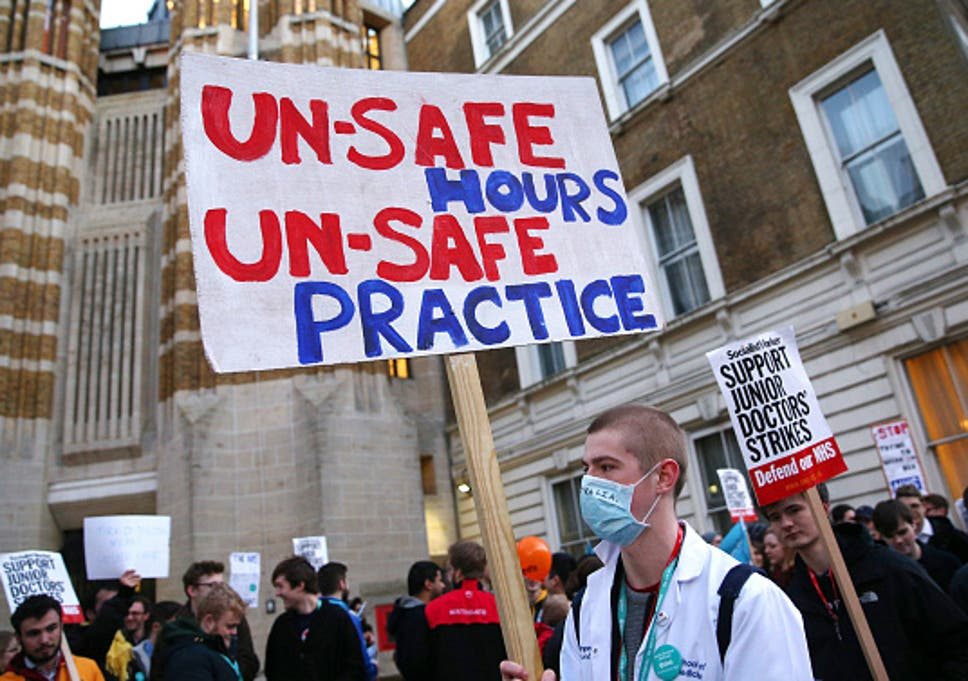 Junior doctors demonstrating in central London in October 2015 – their strike is now on beginning Tuesday January 12th, Getty photo