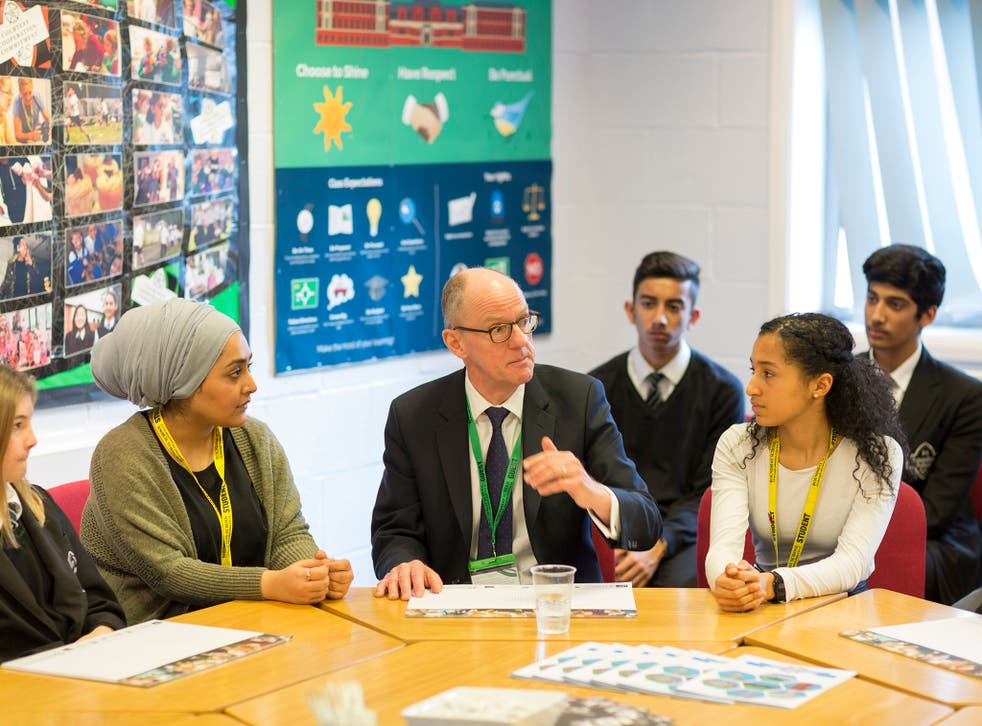 Nick Gibb talking to students at Roundhay School, Leeds