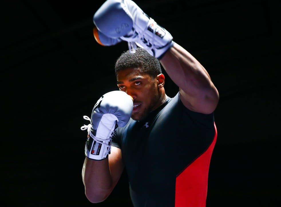 Anthony Joshua during his open training session this week
