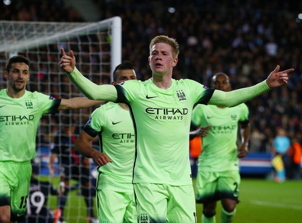 De Bruyne celebrates his opening goal in Paris