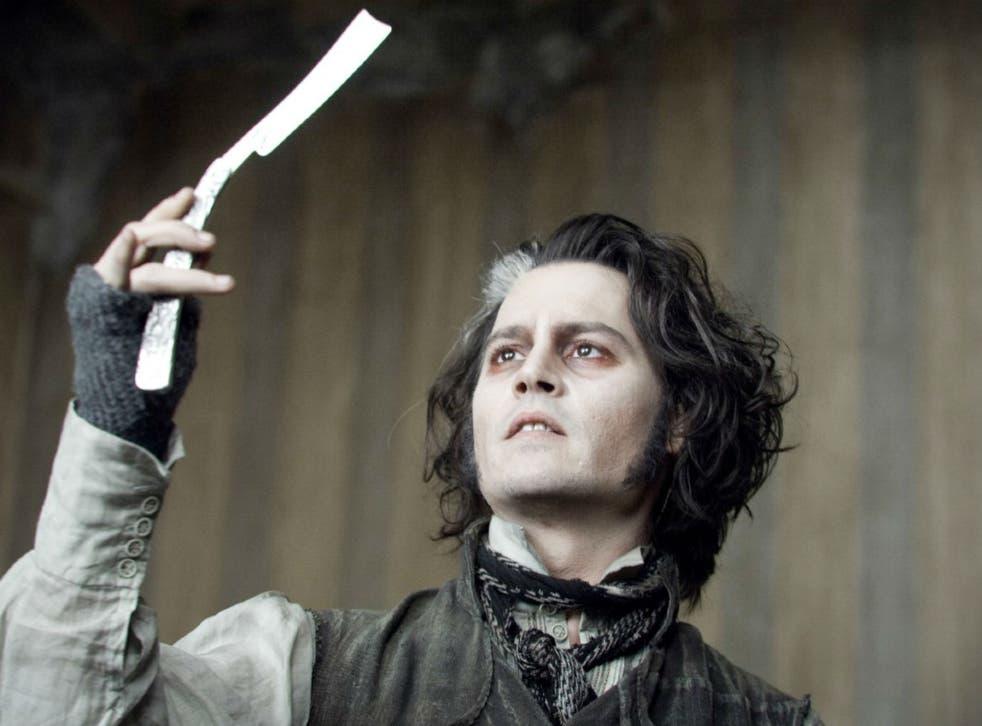 Johnny Depp as the demon barber in Tim Burton's film adaptation of Sweeney Todd