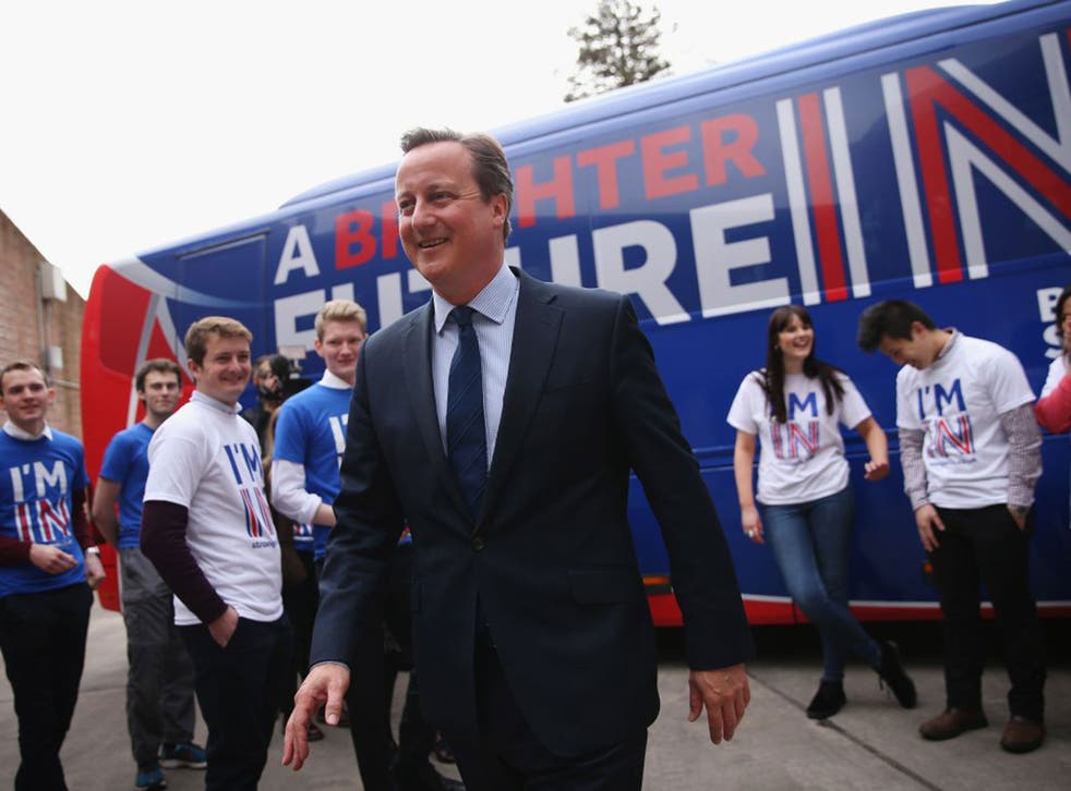 David Cameron at the launch of an EU referendum campaign bus at Exeter University on Thursday