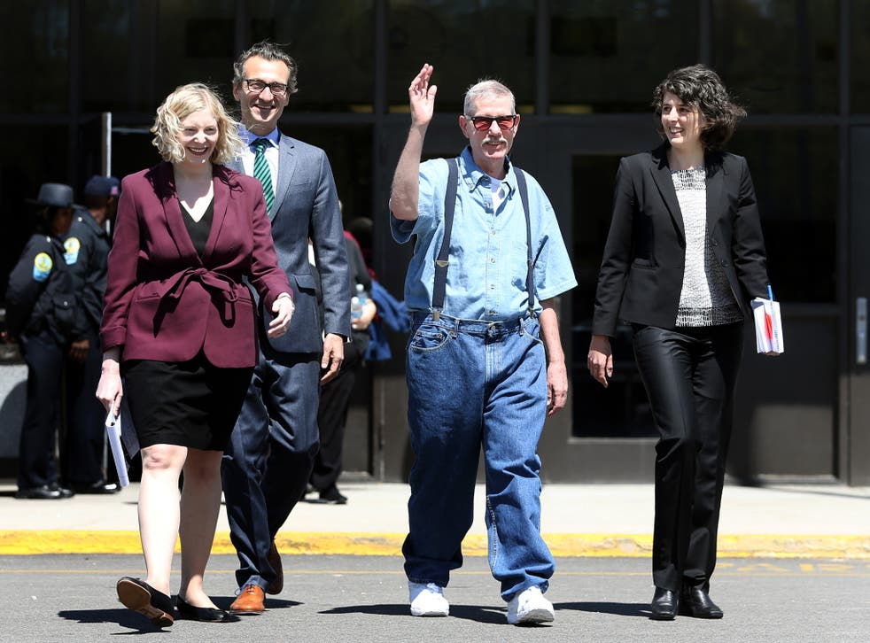 Keith Allen Harward walks out of the Nottoway Correctional Center with his attorneys <em>AP</em>