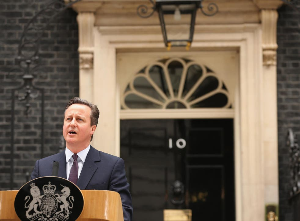 British Prime Minister David Cameron delivers a speech outside10 Downing Street on May 8, 2015 in London, England