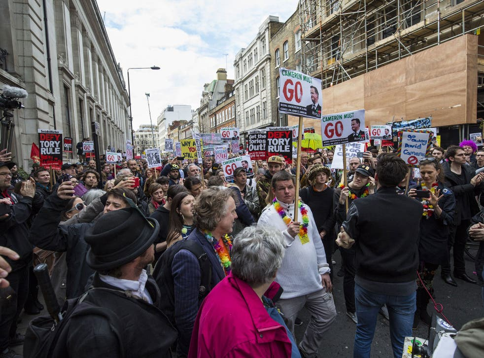 Protesters at the demonstration in London last week following the Panama Papers revelations