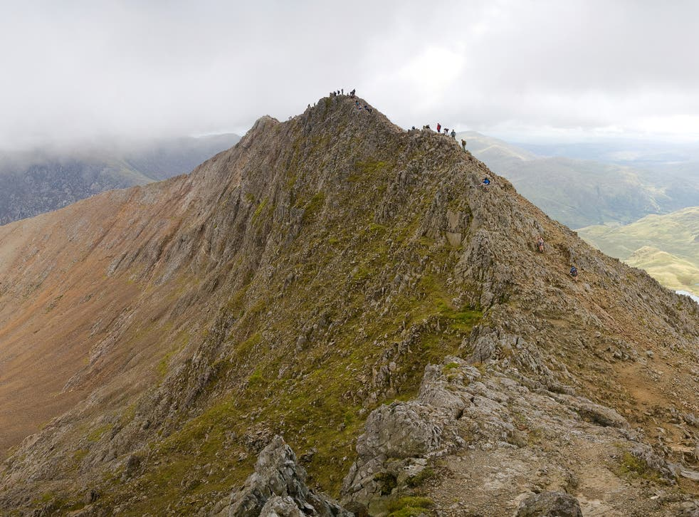 """Crib Goch means """"red ridge"""" in Welsh and is 3,000ft above sea level"""