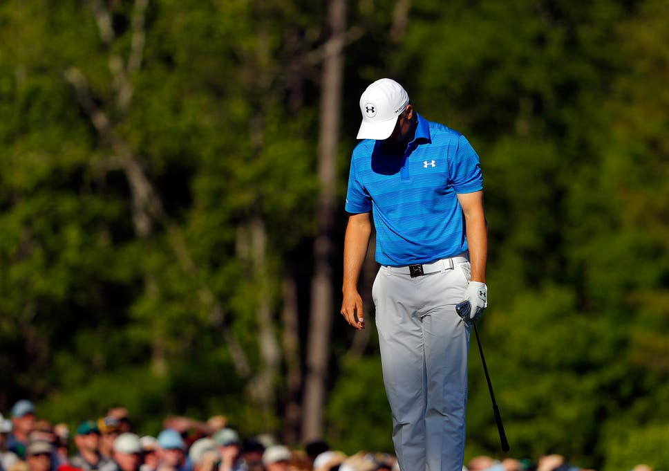 2458b78a3c8 Sport. Jordan Spieth reacts after hitting into the water for the second  time on the 12th hole