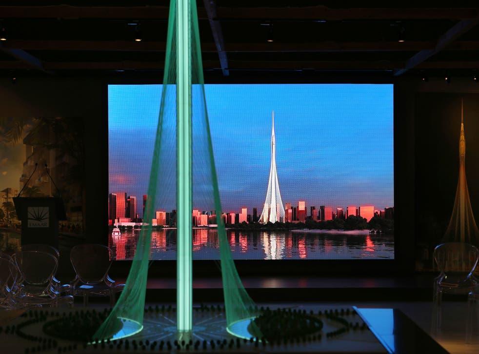 A model of the Tower Project at Dubai Creek Harbour Development designed by Spanish-Swiss architect Santiago Calatrava Valls, in Dubai