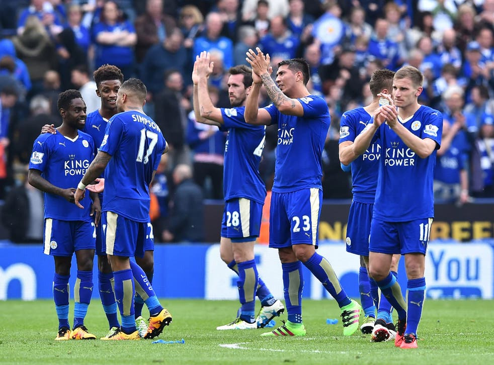 Leicester players applaud the fans after their 2-0 win over Sunderland (Getty)
