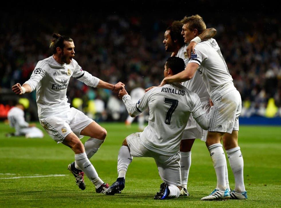 Cristiano Ronaldo celebrates his second goal