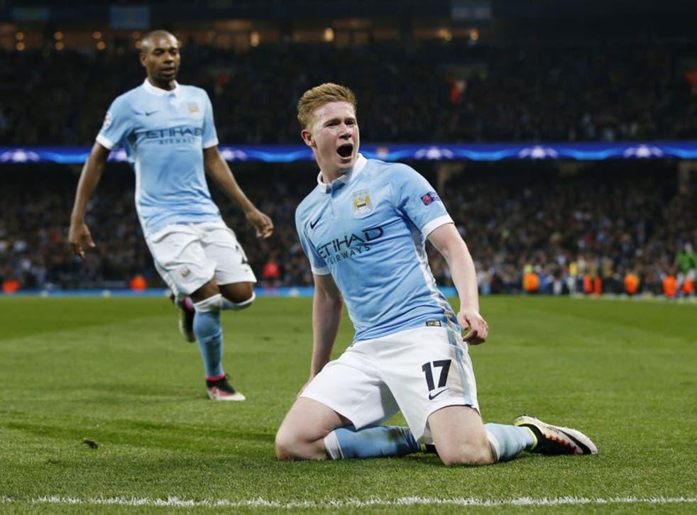 Kevin De Bruyne celebrates his winning goal for City