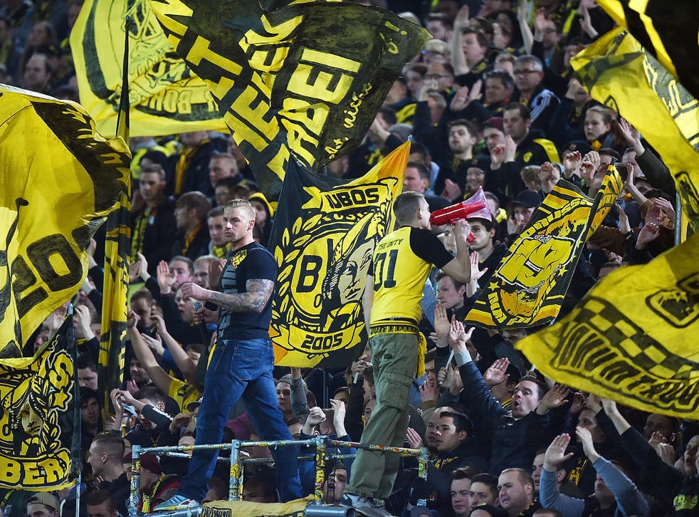 Borussia Dortmund supporters put on a display during last week's first leg against Liverpool