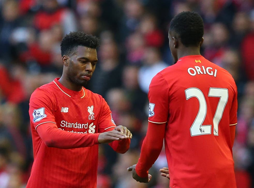 Daniel Sturridge is replaced by Divock Origi in the draw with Tottenham earlier this month