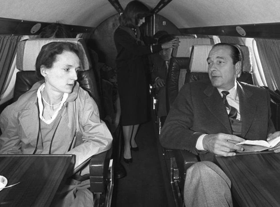 French politician Jacques Chirac (R) talking with his daughter Laurence (L) in a plane heading to Sarran to vote for the first round of the 1981 presidential election.