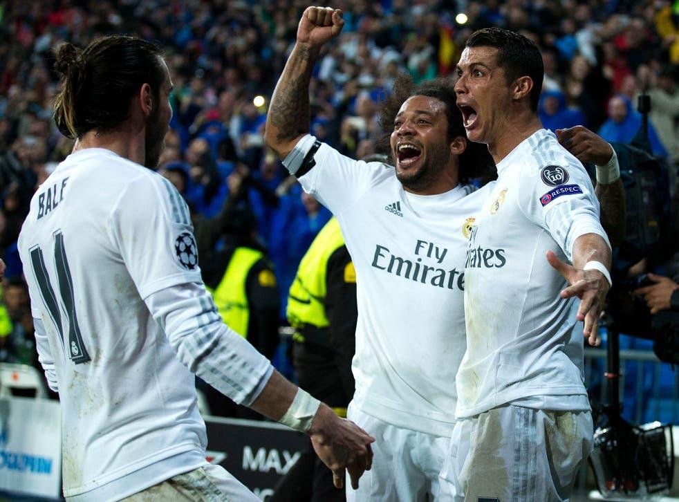 Cristiano Ronaldo celebrates with Gareth Bale and Marcelo