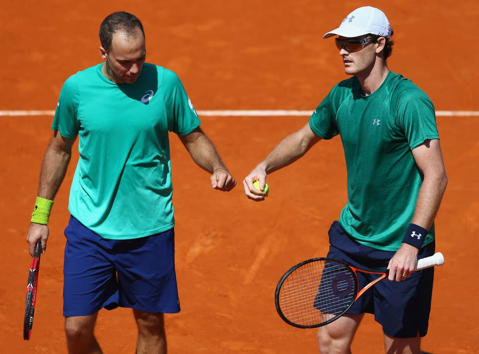 Jamie Murray (right) celebrates with partner Bruno Soares after winning their Monte Carlo Masters semi-final