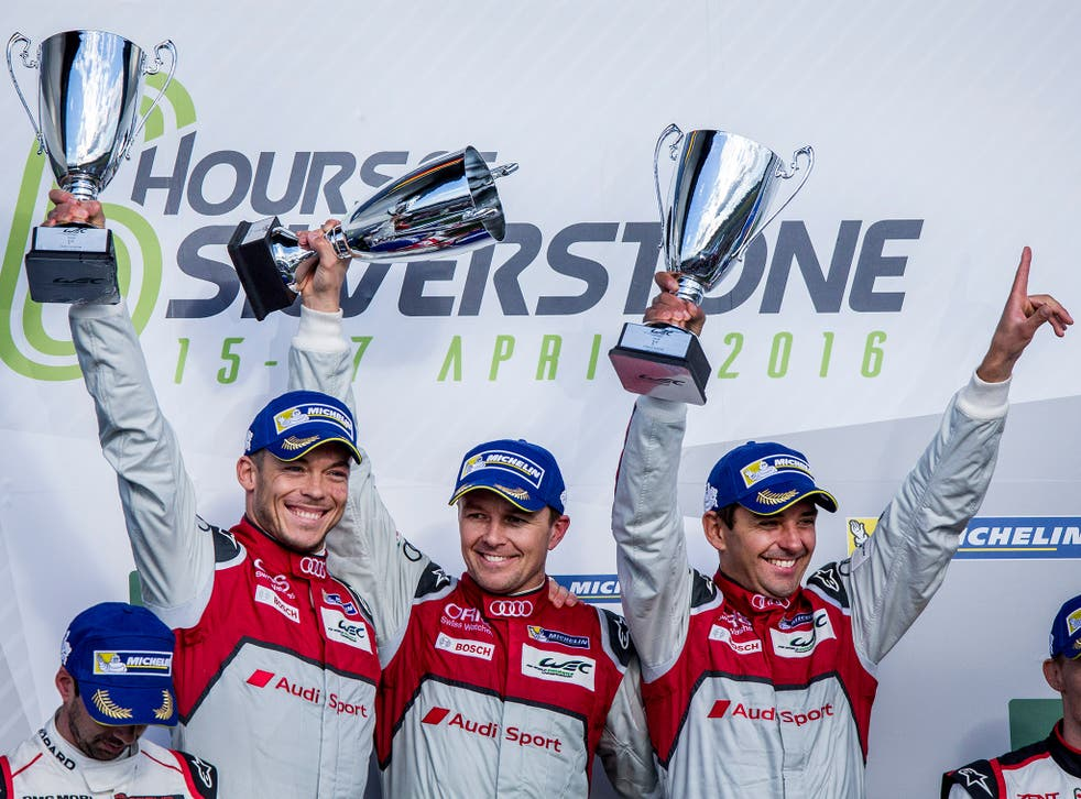 (Left to right) Andre Lotterer, Marcel Fassler and Benoit Treluyer were excluded after the race