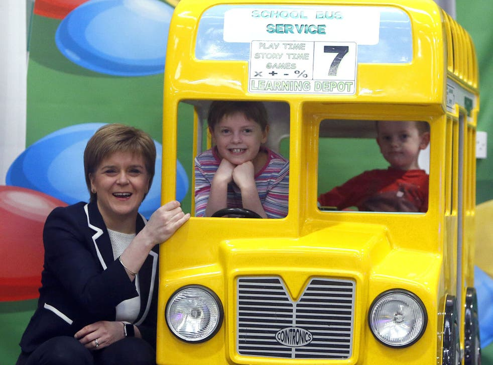 First Minister Nicola Sturgeon meets children during a visit to Lollipop Land soft play centre in Glasgow