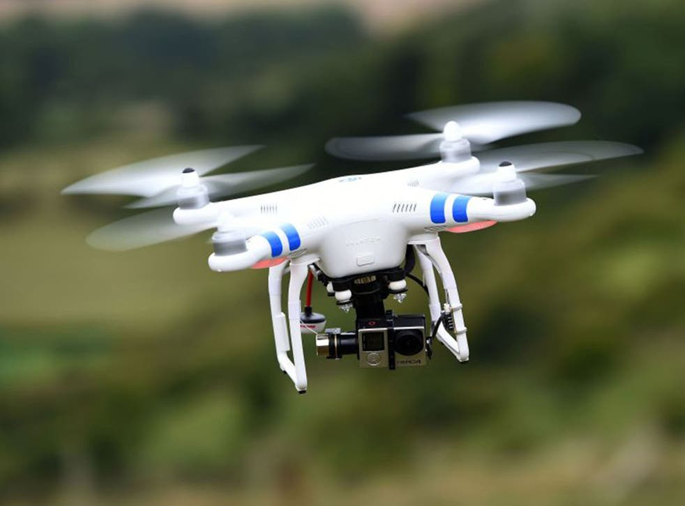 A drone available for public purchase in flight