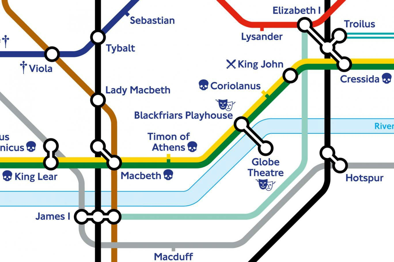 William Shakespeare London Underground map given makeover for – Uk Tube Map London