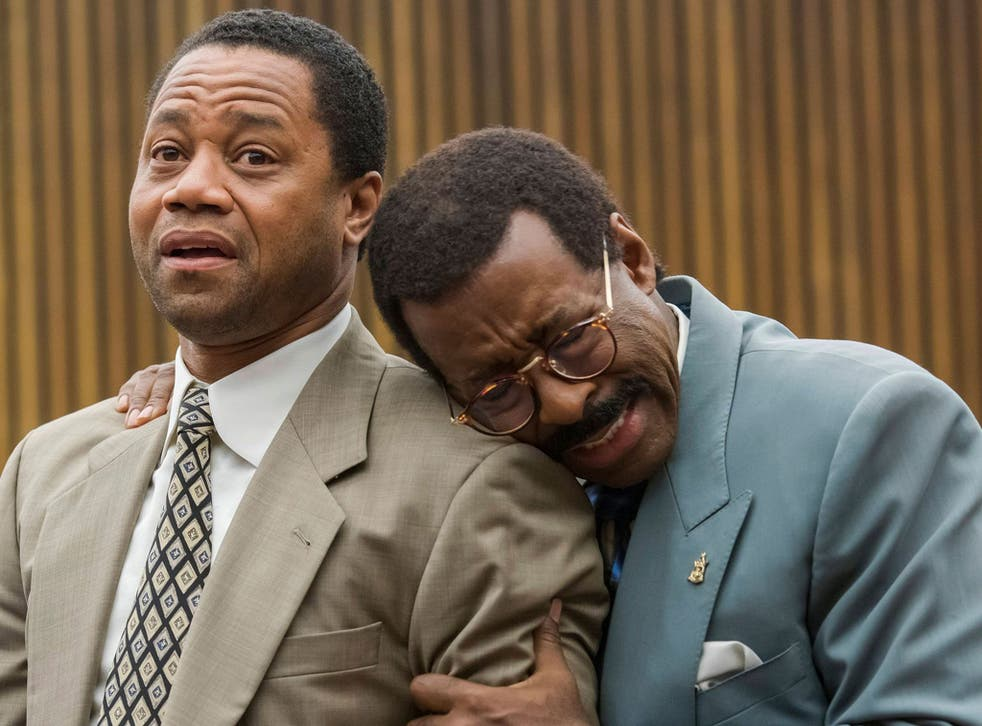 Cuba Gooding Jr (left) as OJ Simpson and Courtney B Vance as lawyer Johnnie Cochran in 'The People v OJ Simpson'