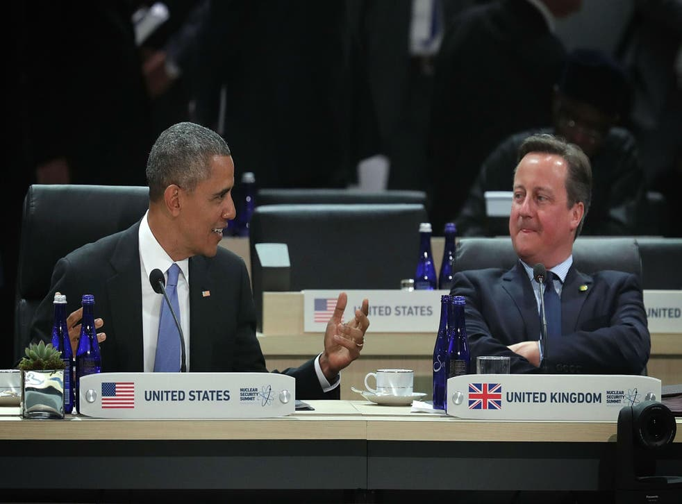 Mr Obama and Mr Cameron chatting together at the Washington DC Nuclear Summit in April