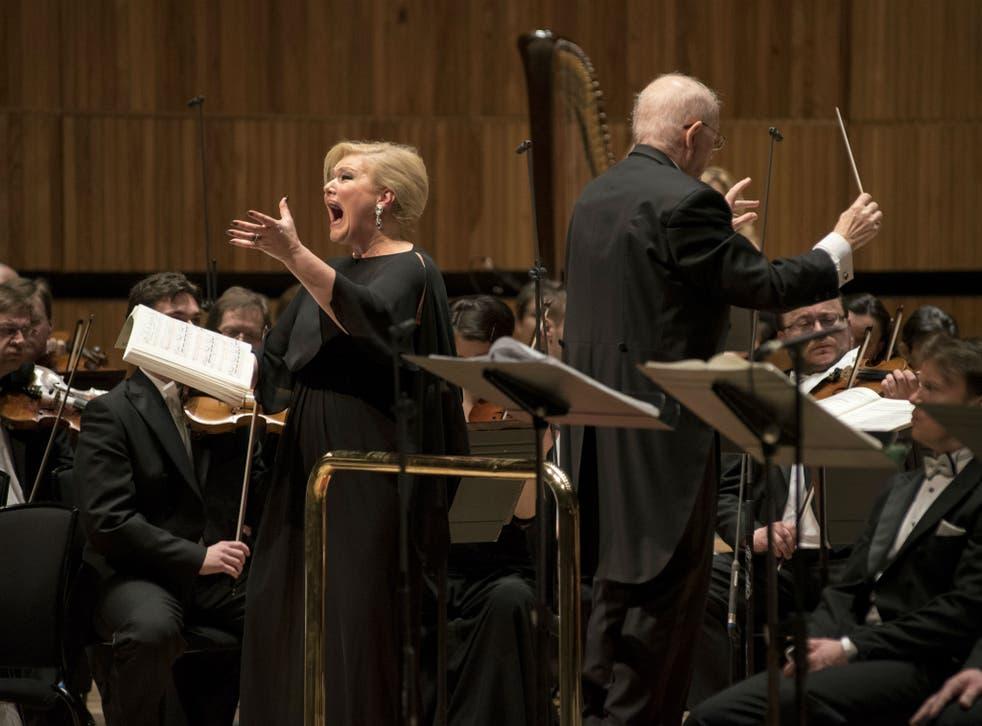 Karita Mattila (soprano - Kostelnička) and Jiří Bělohlávek (conductor) performing Janáček's opera Jenůfa at the Royal Festival Hall