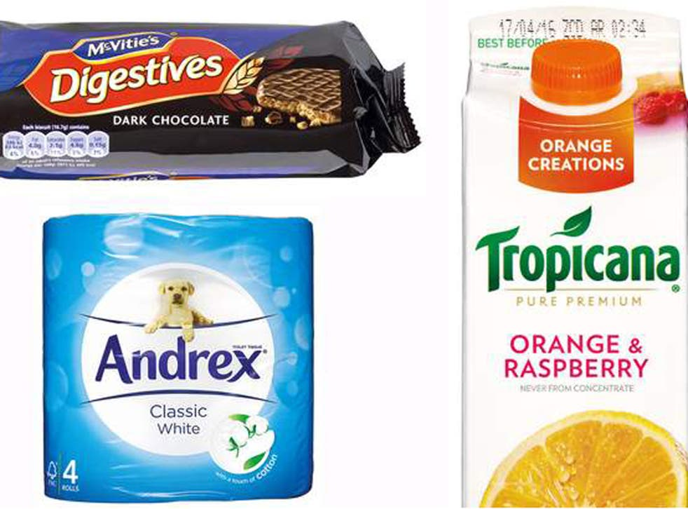 Andrex toilet paper, McVitie's biscuits and Tropicana juice were among the products shrinking in size