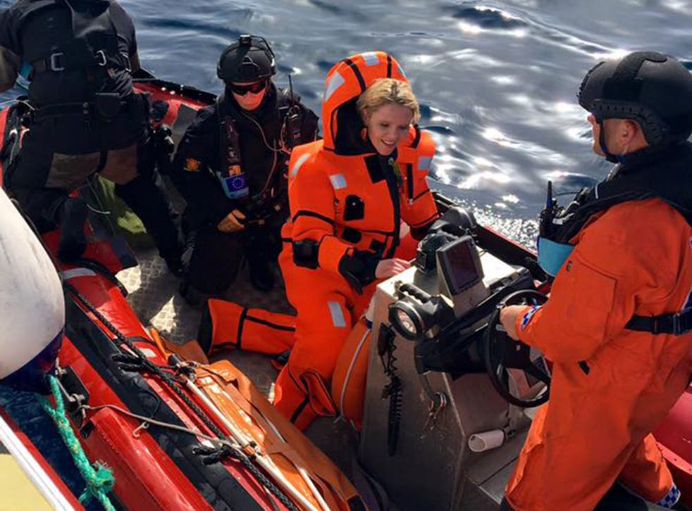 Sylvi Listhaug, the Norwegian immigration minister, in the Aegean Sea off Lesbos in April