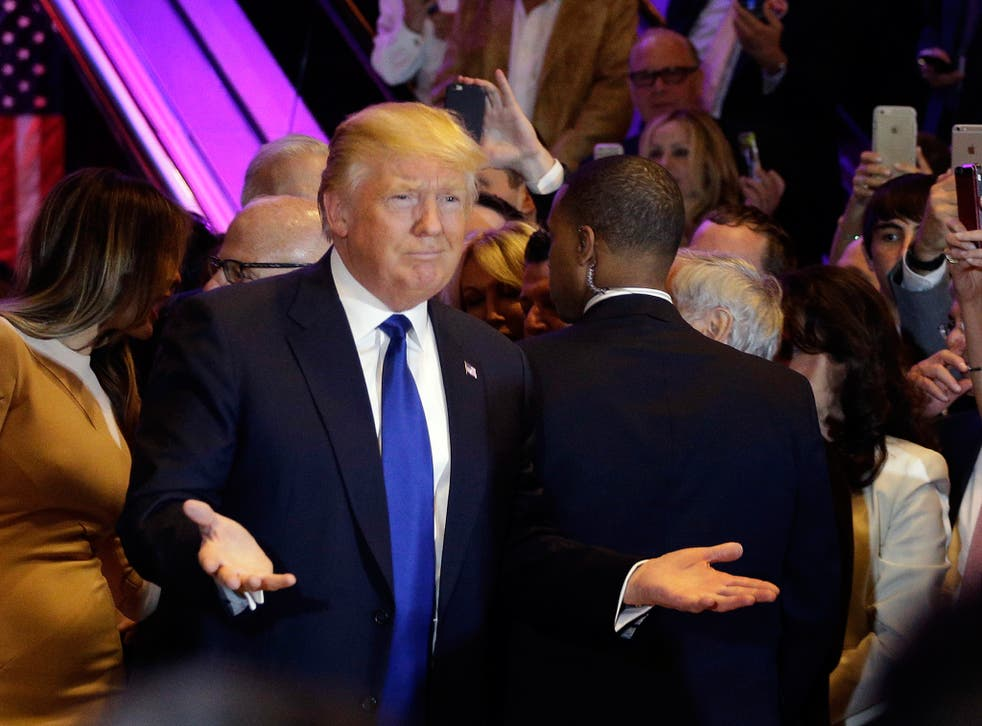 Donald Trump gives his victory speech in Trump Tower <em>AP</em>