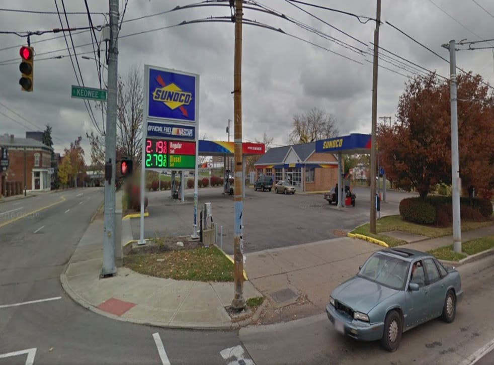 A Google Street View of the gas station at Keowee St & Wayne Ave