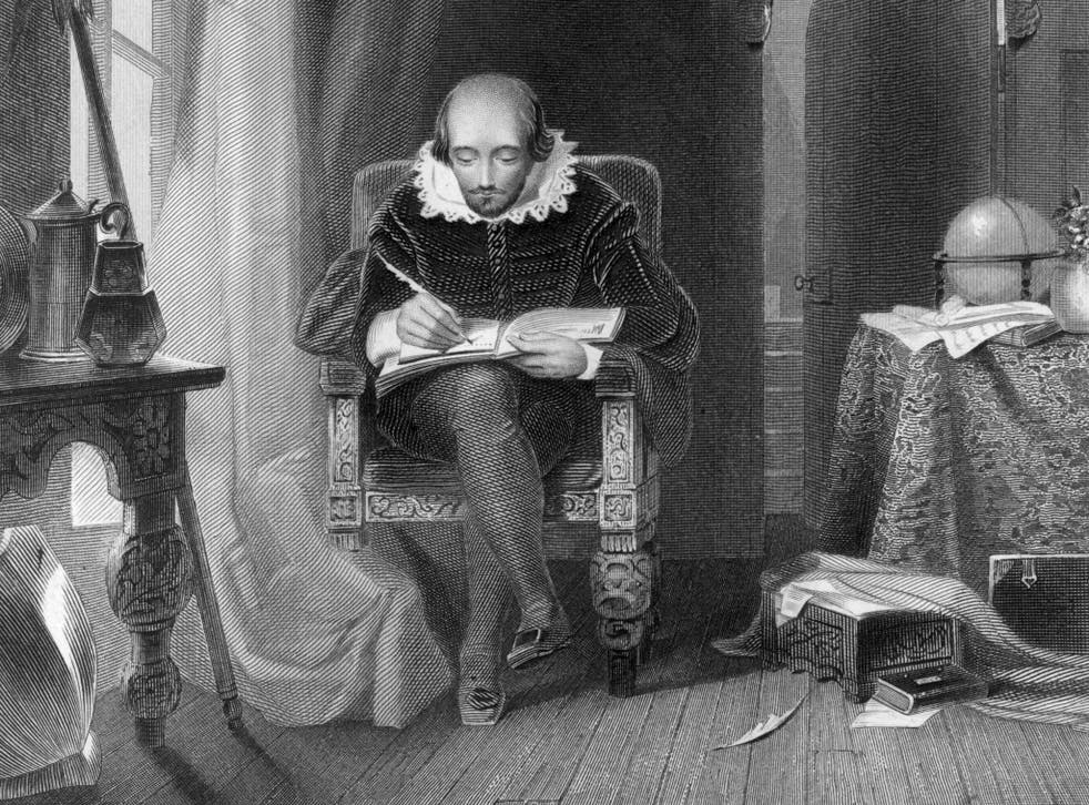 William Shakespeare at work in his study circa 1610