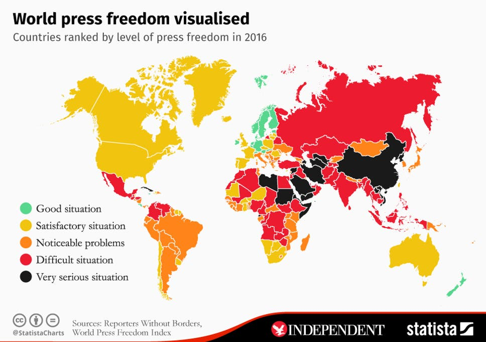 Map Of The World Without Countries.World Press Freedom Day Map Shows The Countries With The Least