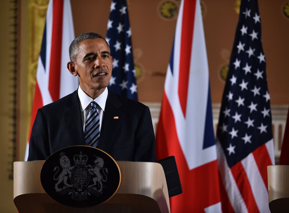 President Obama speaking at a press conference at the Foreign and Commonwealth Office - he said the UK was best when helping to lead a strong Europe
