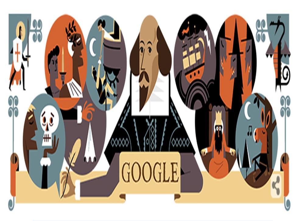 The Google Doodle for 23 April celebrates both Shakespeare and St George's Day